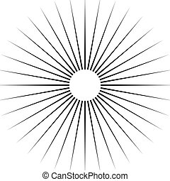 Radiating circular lines abstract monochrome symbol on white...