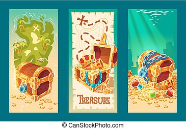 Collection of wooden chests with treasures on the background of a treasure map and on the seabed.