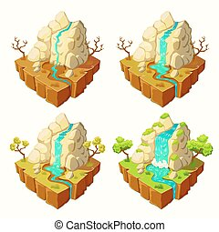 Vector islands with mountains and a waterfall, design elements for games