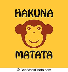 Cartoon Ape head. Vector illustration with hakuna matata...