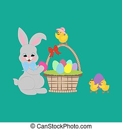 Easter rabbit and chicken