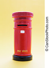 Post Box on Yellow Background