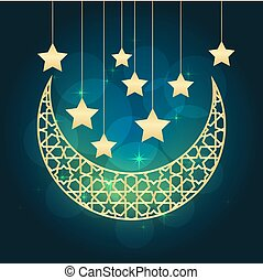 Ramadan greeting card on blue background. illustration.
