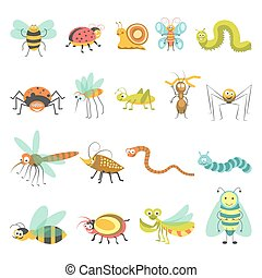 Funny cartoon insects and bugs vector isolated icons -...