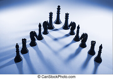 Chess Pieces in Blue Tone
