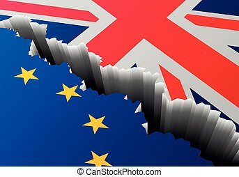 Europa, reino, unido, profundo, bandera, grieta