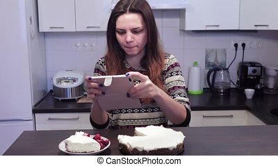 Girl is photographing cheesecake - Photographing a cheese...