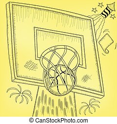 basketball hoop - Vector illustration of basketball hoop hit