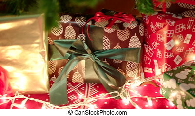 Christmas letter for Santa Claus and beautiful gift boxes...