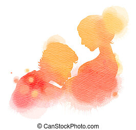 Double exposure illustration. Side view of young man kissing...