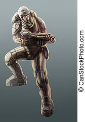 Soldier in a armor-suit. Science fiction illustration.
