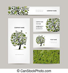 Business card collection, tropical tree design