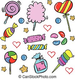 Candy sweet food design doodle style vector art