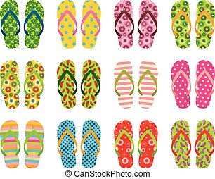 Set of colorful vector flip flops, beach sandals for summer...
