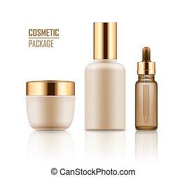Jar, serum, essence in vial - Set of empty realistic package...