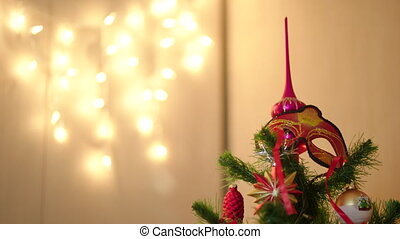 A letter to Santa Claus on Christmas tree with decoration -...