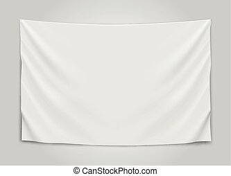 Hanging empty white flag. Blank flag concept. Vector...