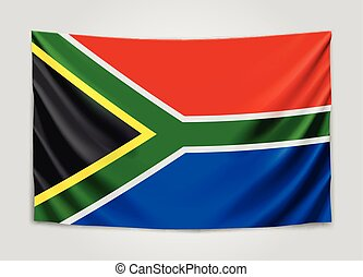 Hanging flag of South Africa. Republic of South Africa. RSA...