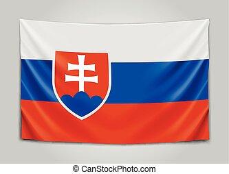 Hanging flag of Slovakia. Slovak Republic. National flag...