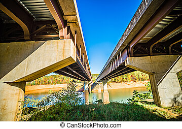 twin bridge crossing fontana lake in the mountains of north...
