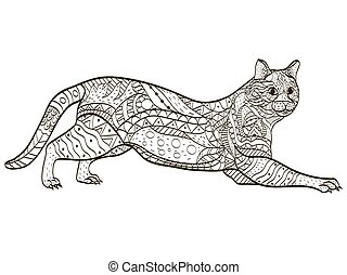 Cat Coloring book vector for adults - Cat animal coloring...