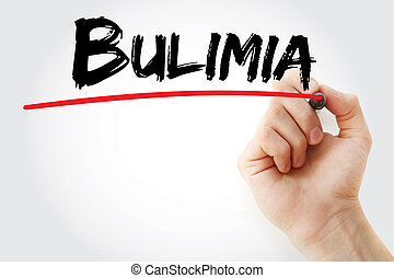 Hand writing Bulimia with marker, health concept background