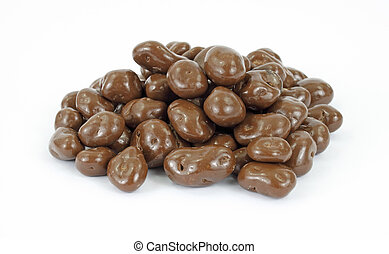 Chocolate covered raisins - A group of chocolate covered...