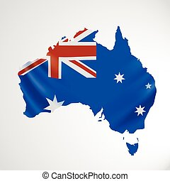 Hanging Australia flag in form of map. Commonwealth of...