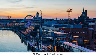 Wonderful evening cityscape of Helsinki
