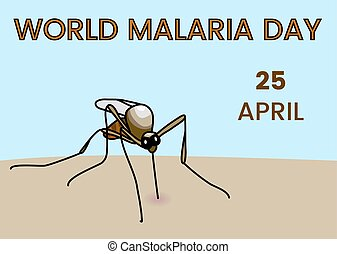 World Malaria Day illustration with mosquito bite human skin