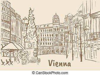 Graben street in Vienna - Plague column on Graben street in...
