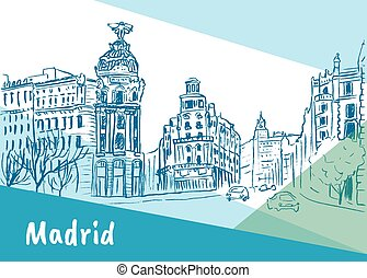 Madrid, capital of Spain - Sketch of Gran Via street in...