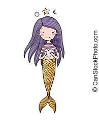 Beautiful little mermaid. Siren. Sea theme. isolated objects...