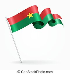 Burkina Faso pin wavy flag. Vector illustration.