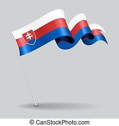 Slovakian pin wavy flag. Vector illustration. - Slovakian...