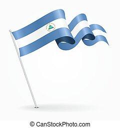 Nicaraguan pin wavy flag. illustration. - Nicaraguan pin...