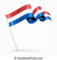 Dutch pin wavy flag. illustration. - Dutch pin icon wavy...