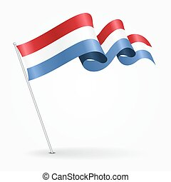 Luxembourg pin wavy flag. Vector illustration. - Luxembourg...