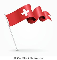 Swiss pin wavy flag. Vector illustration. - Swiss pin icon...