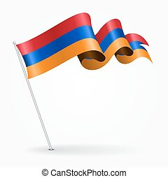 Armenian pin wavy flag. Vector illustration. - Armenian pin...
