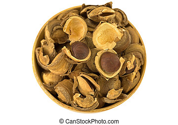 Seed and shell covers of Sacha inchi peanut, capsult fruit...