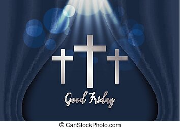 Good Friday. Background with silver cross on luxury curtain...