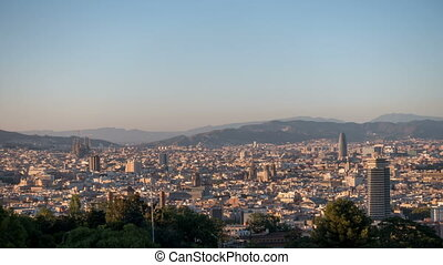 Barcelona. View of the city at sunset