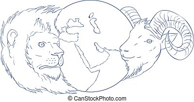 Lion Ram Globe Middle East Drawing - Drawing sketch style...