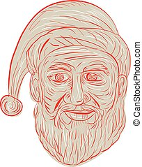 Melancholy Santa Claus Head Drawing - Drawing sketch style...