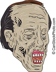 Zombie Head Three Quarter View Drawing - Drawing sketch...