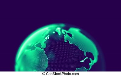 Earth Rotating, The World Spinning, Full Rotation, Seamless Loop, abstract background