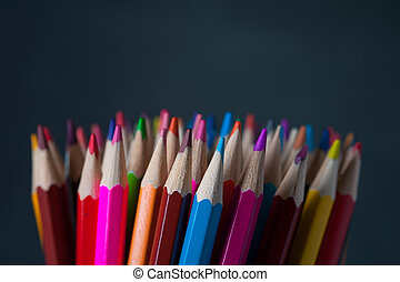 Bright multicolored crayons background - Assortment of...