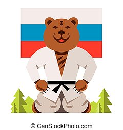 Vector Russian Bear Humor Concept. Flat style colorful Comic...