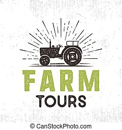Farm tours logo with tractor and sunbursts. Retro style. Black and green colors. Isolated on white background